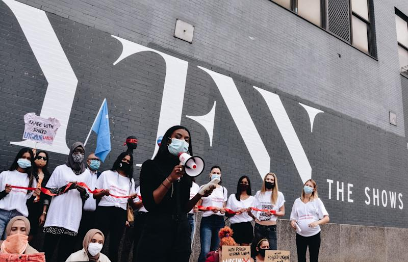 Models Protested Against Forced Labor in Fashion Outside of a NFYW Venue