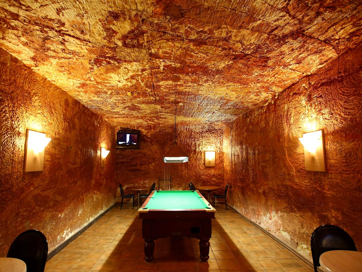 An underground game room in Coober Pedy.