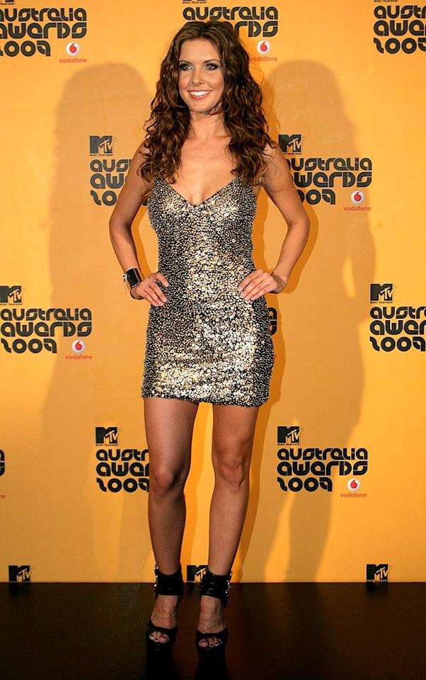"""MTV's Australia Awards were hosted by """"Hills"""" hottie Audrina Patridge, who stole the spotlight in a sparkling gold paillette-covered Alberto Makali mini. Mike Flokis/<a href=""""http://www.wireimage.com"""" target=""""new"""">WireImage.com</a> - March 27, 2009"""