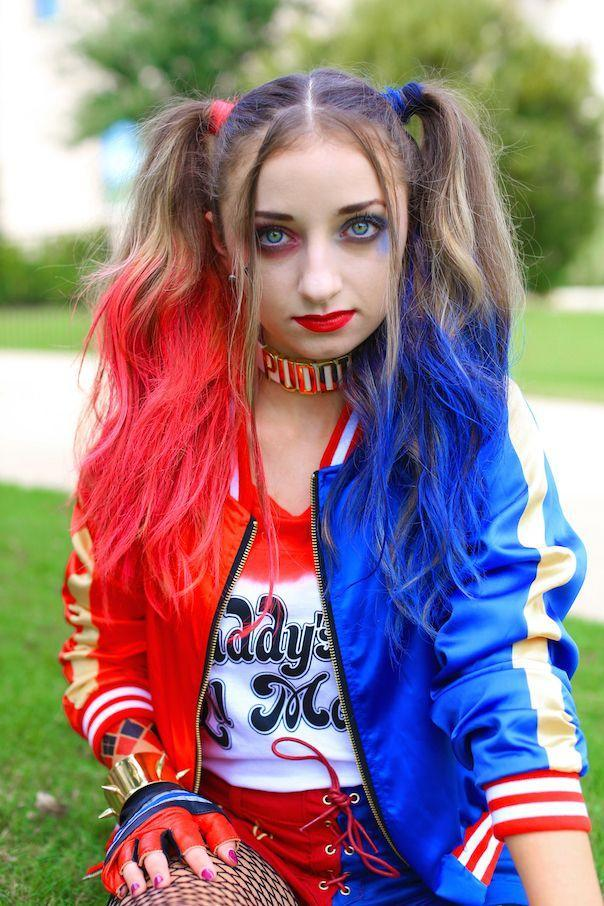 """<p>Ever since the movie <em>Suicide Squad</em> came out, Harley Quinn has become a popular costume choice for girls of all ages. It's easy to understand why: Not only is the outfit easy to create, but the bright colors also make it fun to wear.</p><p><strong>Get the tutorial at <a href=""""http://www.cutegirlshairstyles.com/hairstyles/time/5-10mins/harley-quinn-pigtails/"""" rel=""""nofollow noopener"""" target=""""_blank"""" data-ylk=""""slk:Cute Girls Hairstyles"""" class=""""link rapid-noclick-resp"""">Cute Girls Hairstyles</a>.</strong></p><p><strong><a class=""""link rapid-noclick-resp"""" href=""""https://www.amazon.com/Suicide-Harley-Daddys-Little-Monster/dp/B01JSFMYCE/?tag=syn-yahoo-20&ascsubtag=%5Bartid%7C10050.g.22118522%5Bsrc%7Cyahoo-us"""" rel=""""nofollow noopener"""" target=""""_blank"""" data-ylk=""""slk:SHOP SHIRTS"""">SHOP SHIRTS</a><br></strong></p>"""