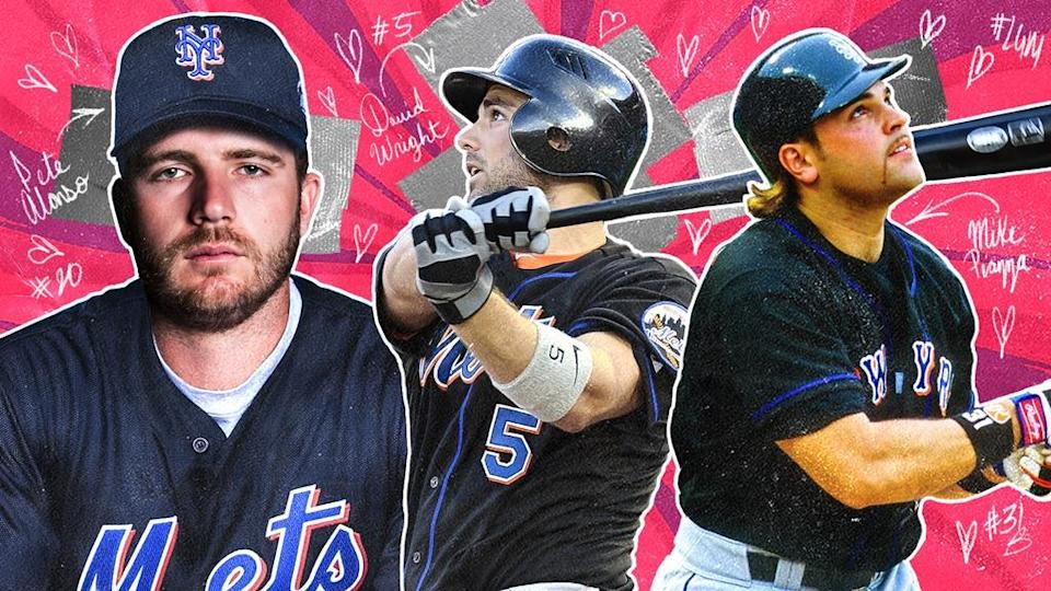 Pete Alonso, David Wright, and Mike Piazza black jerseys TREATED ART