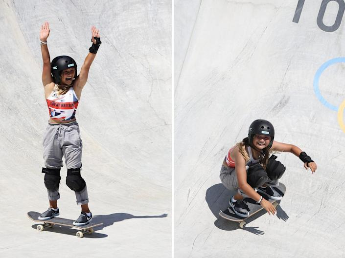 Sky reacts to landing tricks at the Olympics: arms up on the left and crouched and smiling on the right.