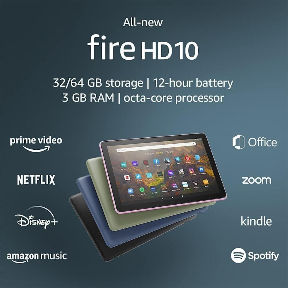 <p>Treat yourself to the <span>Fire HD 10 tablet</span> ($150). You can keep yourself entertained with all your favorite streaming platforms and books, stay in touch with friends and family, and even control your smart home.</p>