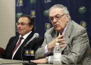 Donnie Walsh, right, gestures during a news conference after being named president of the Indiana Pacers, as owner Herb Simon listens during an announcement by the NBA basketball team in Indianapolis, Wednesday, June 27, 2012. Walsh will replacs Larry Bird as president and Kevin Pritchard was named as general manager. (AP Photo/Michael Conroy)