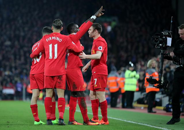 <p>Sadio Mane takes the plaudits after making it 1-0 to Liverpool</p>