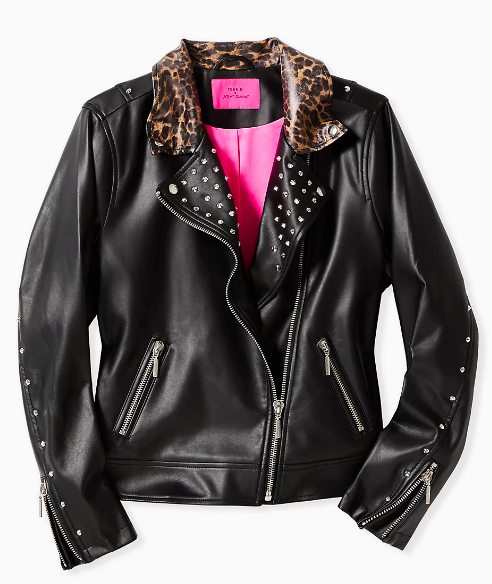 Leopard Trim Faux Leather Moto Jacket (Photo via Torrid)
