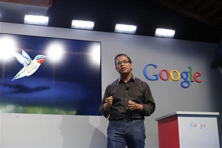 Singhal, senior vice president of search at Google, introduces the new 'Hummingbird' search algorithm at the garage where the company was founded on Google's 15th anniversary in Menlo Park, California