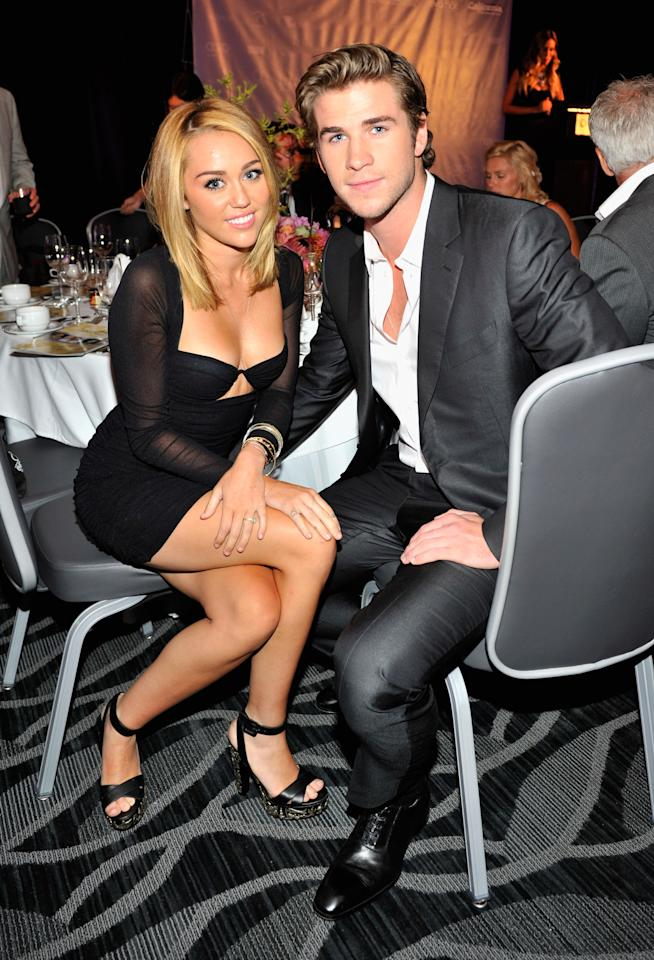CENTURY CITY, CA - JUNE 27:  Singer Miley Cyrus and actor Liam Hemsworth attend Australians In Film Awards & Benefit Dinner at InterContinental Hotel on June 27, 2012 in Century City, California.  (Photo by Toby Canham/Getty Images for AIF)