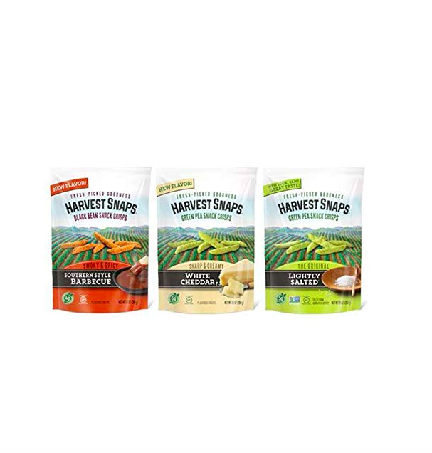 """<p><strong>Harvest Snaps</strong></p><p>amazon.com</p><p><a href=""""https://www.amazon.com/dp/B08HXM9XTR?tag=syn-yahoo-20&ascsubtag=%5Bartid%7C10055.g.26630133%5Bsrc%7Cyahoo-us"""" rel=""""nofollow noopener"""" target=""""_blank"""" data-ylk=""""slk:Shop Now"""" class=""""link rapid-noclick-resp"""">Shop Now</a></p><p>Bored of your usual salty treats? These light and yummy bites come in green pea and black bean varieties. The three pictured here all contain 1 gram or less of sugar per serving.</p>"""
