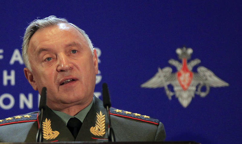 """Chief of General Staff Nikolay Makarov speaks at Russian Ministry of Defense's Conference on Missile Defense in Moscow on Thursday, May 3, 2012. President Medvedev last year threatened that Russia will retaliate if it does not reach agreement with the United States and NATO. Makarov on Thursday confirmed that stance, saying that that Russia will take """"a decision on a pre-emptive use of destructive force"""" if """"the situation aggravates.""""  (AP Photo/Sergey Ponomarev)"""