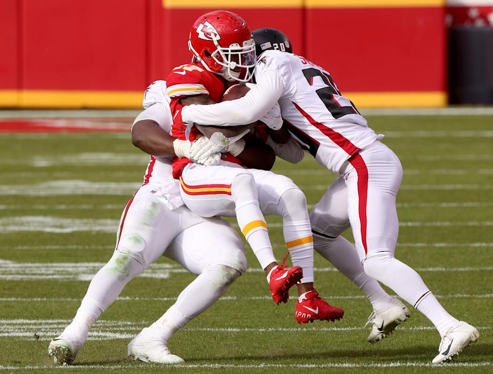 Mecole Hardman and the Kansas City Chiefs were held down most of the day by the Falcons. (Photo by Jamie Squire/Getty Images)