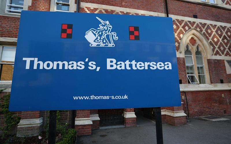 The sign outside Thomas's Battersea in London after it was announced that Prince George is to attend the private school in September. - Credit: Jonathan Brady/PA