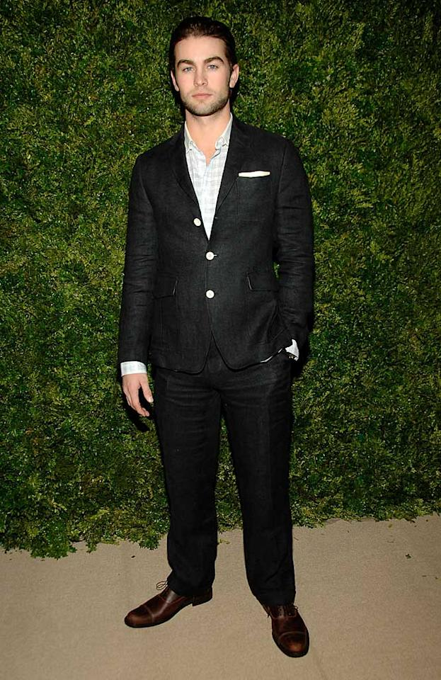 """Leighton's dapper co-star Chace Crawford slicked his hair back and suited up in Billy Reid for the soiree. Ben Gabbe/<a href=""""http://www.gettyimages.com/"""" target=""""new"""">GettyImages.com</a> - November 15, 2010"""
