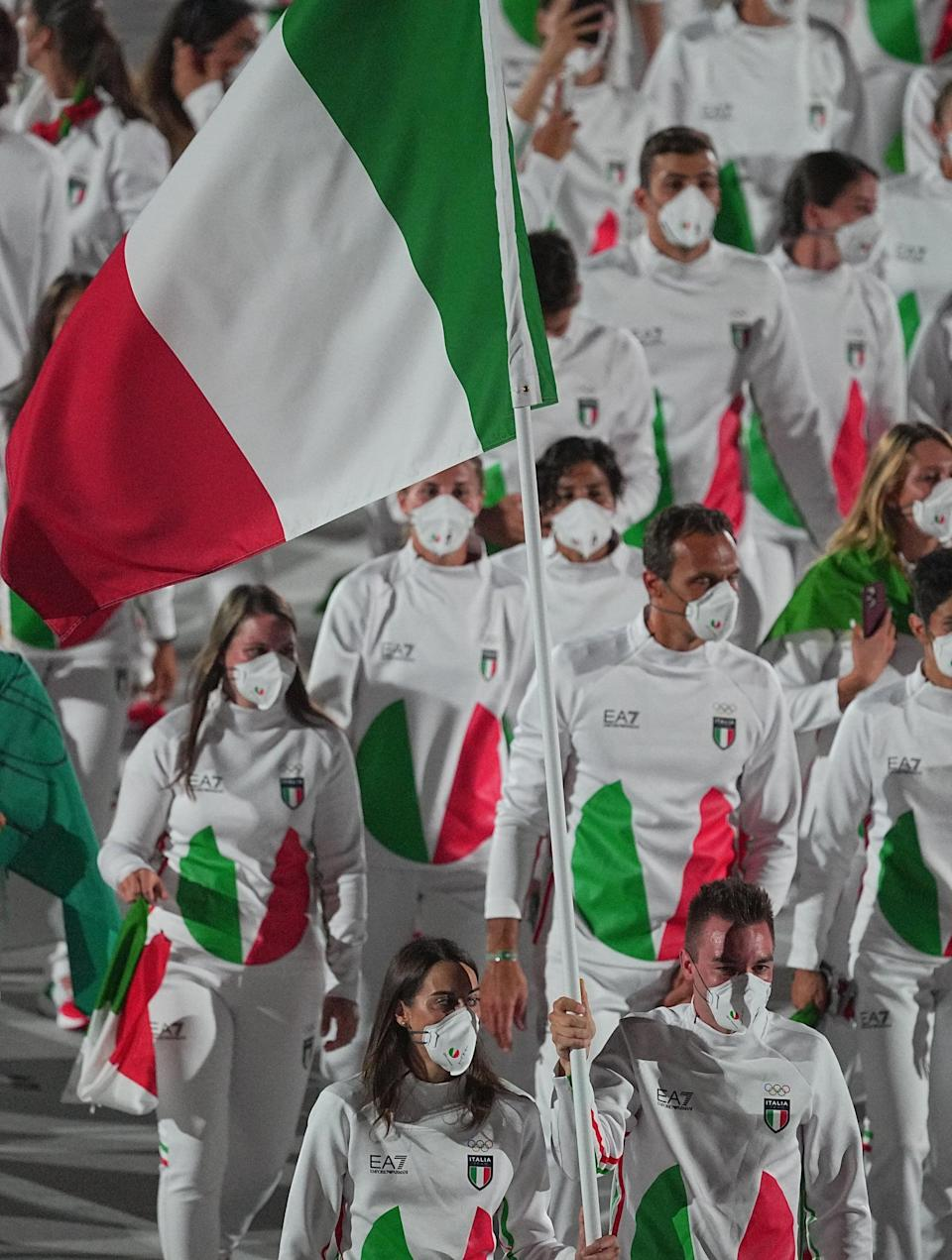 <p>Team Italy opted for these chic red, white, and green EA7 Emporio Armani uniforms for the Opening Ceremony. The best part is that fans can buy garments worn by the team on Armani's website as well. </p>