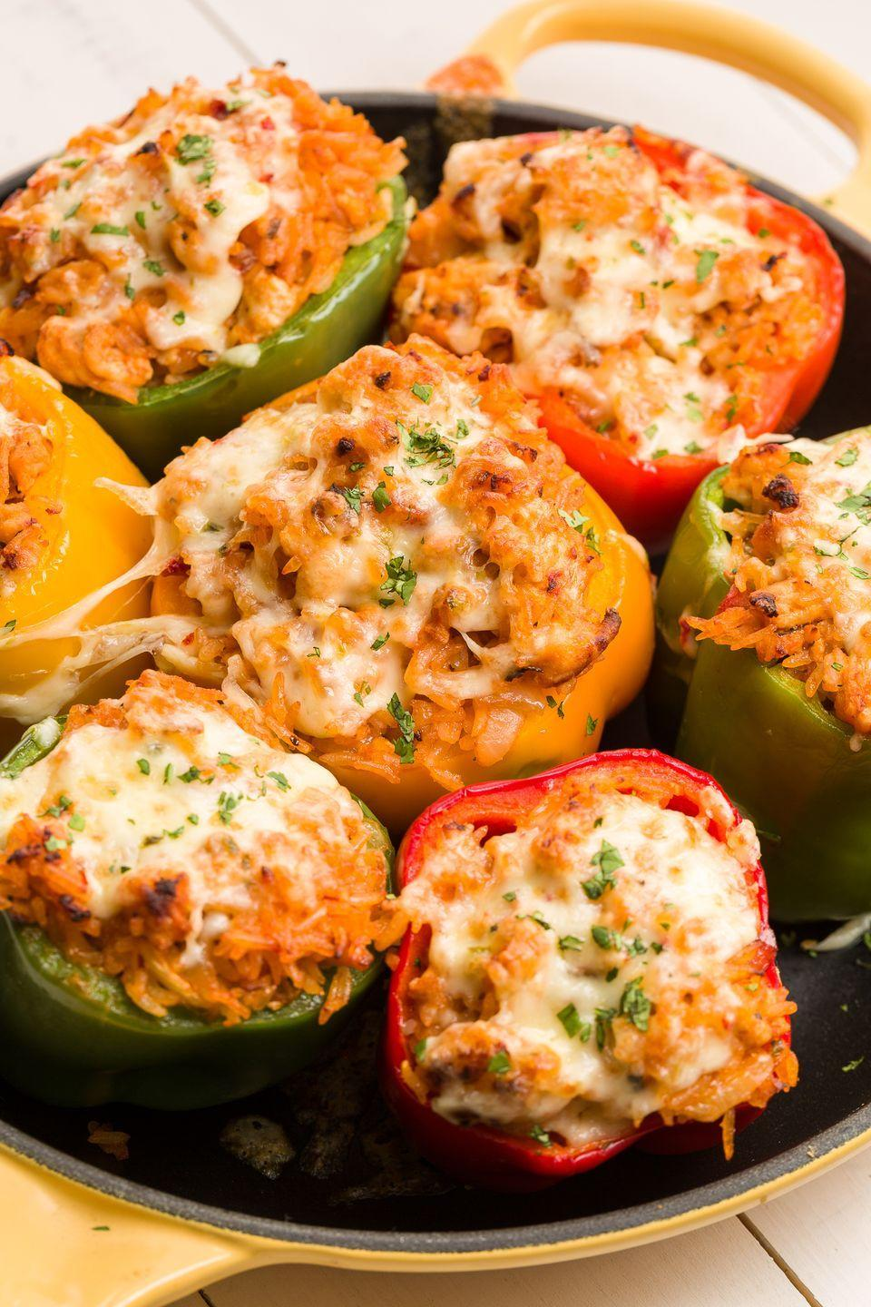 """<p>Peppers look their best all dressed up in ground turkey.</p><p>Get the recipe from <a href=""""https://www.redbookmag.com/cooking/recipe-ideas/recipes/a46153/trader-joes-turkey-stuffed-peppers-with-pepperjack-recipe/"""" rel=""""nofollow noopener"""" target=""""_blank"""" data-ylk=""""slk:Delish"""" class=""""link rapid-noclick-resp"""">Delish</a>.</p>"""