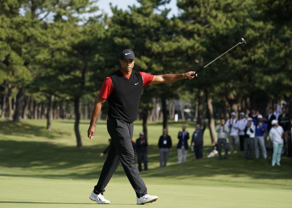 Tiger Woods of the United States reacts after his putt during the final round of the Zozo Championship PGA Tour at the Accordia Golf Narashino country club in Inzai, east of Tokyo, Japan, Monday, Oct. 28, 2019. (AP Photo/Lee Jin-man)