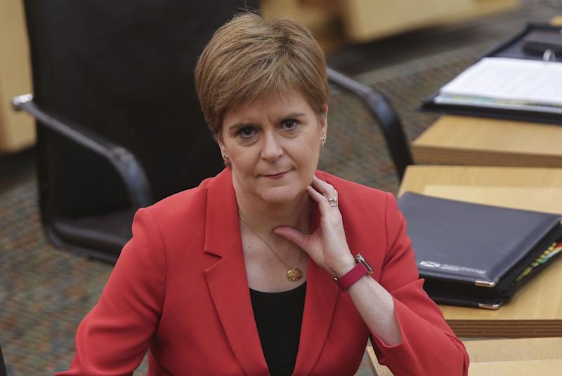 First Minister Nicola Sturgeon during First Minster's Questions (FMQ's) in the debating chamber of the Scottish Parliament in Edinburgh.