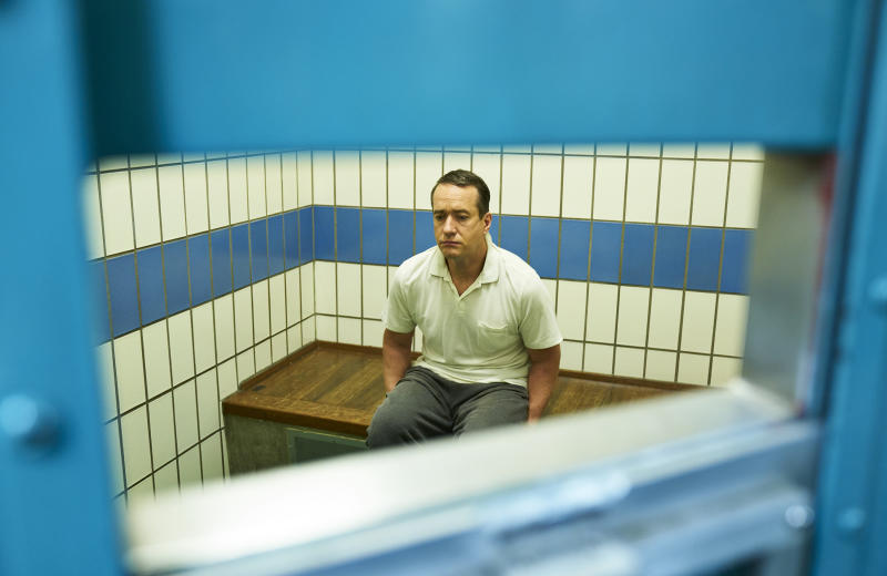 """This image released by AMC/ITV shows Matthew Macfadyen as Charles Ingram in a scene from """"Quiz,"""" about a couple accused of cheating their way to the top prize on the British version of TV's """"Who Wants to Be a Millionaire."""" The three-part series debuts on Sunday at 10 p.m. EDT on AMC. (Mark Johnson/AMC/ITV via AP)"""