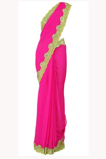 Suneet Varma tries nouveau colour blocking with his fuschia-lime green sari