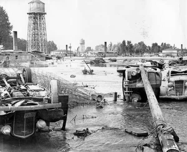 Overturned cars in the aftermath of the Vanport flood, 1948