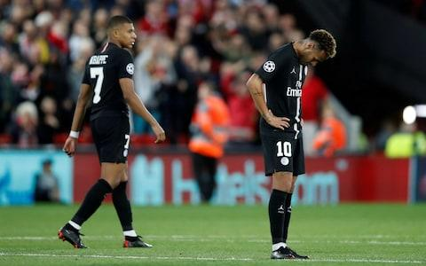 Paris St Germain's Neymar and Kylian Mbappe look dejected after Liverpool's third goal - Credit: REUTERS