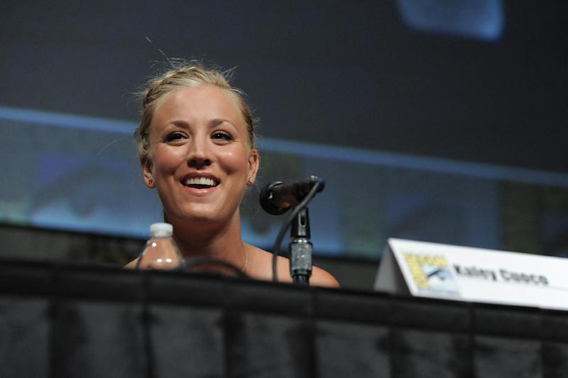 """Kaley Cuoco attends the """"Big Bang Theory"""" Panel panel at Comic-Con on Thursday, July 12, 2012 in San Diego, Calif. (Photo by Jordan Straus/Invision/AP)"""