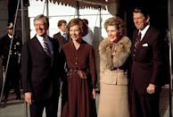 <p>President Jimmy Carter and First Lady, Roslyn, greeted President-elect Ronald Reagan and future First Lady, Nancy, outside the White House. </p>