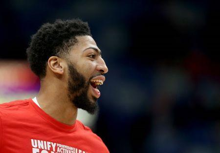 Feb 8, 2019; New Orleans, LA, USA; New Orleans Pelicans forward Anthony Davis (23) warms up before their game against the Minnesota Timberwolves at the Smoothie King Center. Mandatory Credit: Chuck Cook-USA TODAY Sports
