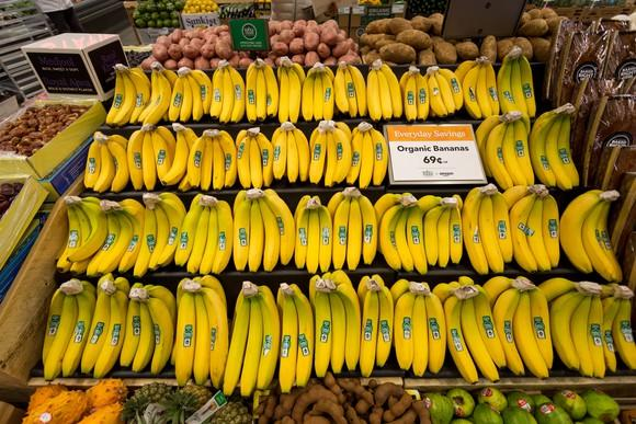 A display of bananas at Whole Foods