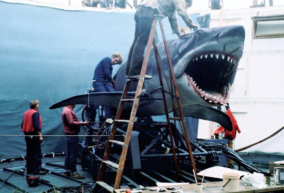 Bruce the mechanical shark, on the set of Jaws in 1974.