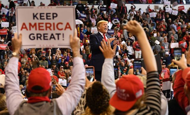 "President Trump at a ""Keep America Great"" rally in Bossier City, La., on Nov. 14. (Photo: Mandel Ngan/AFP via Getty Images)"