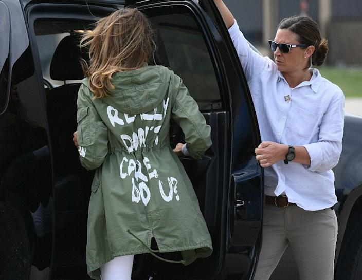 Trump departing Andrews Air Force Base in Maryland on June 21, 2018, wearing a jacket emblazoned with the words