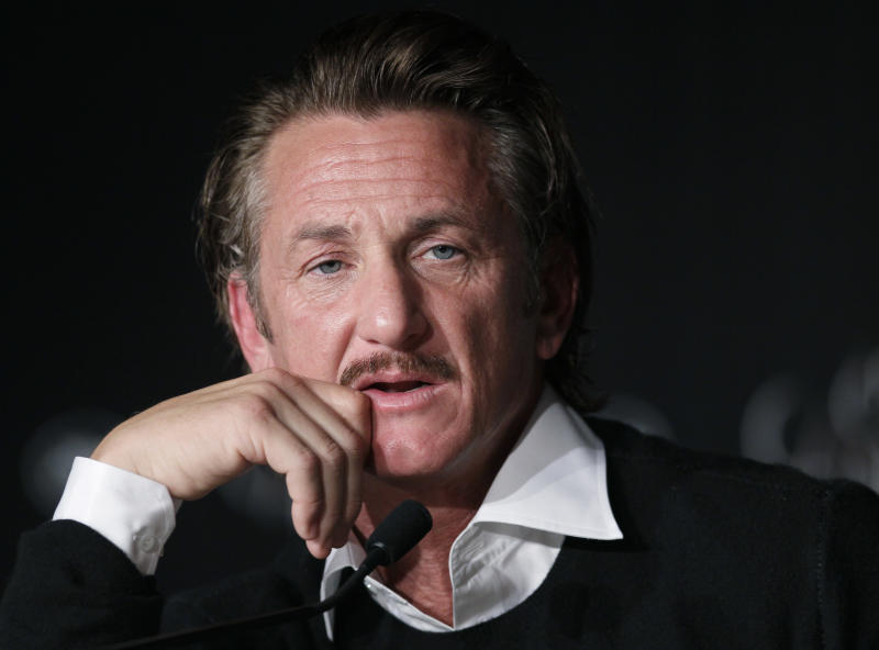 Sean Penn attends the press conference for the Haiti Carnival charity event at the Cannes Film Festival on May 18, 2012. (Credit: AP Photo/Francois Mori)