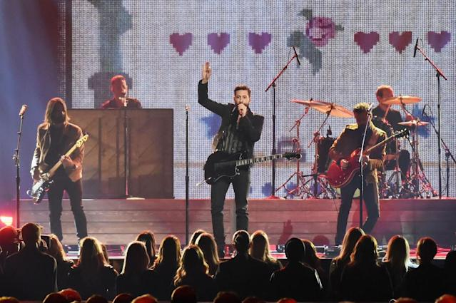 <p>Geoff Sprung, Matthew Ramsay, and Brad Tursi of Old Dominion perform onstage at the 51st annual CMA Awards at the Bridgestone Arena on November 8, 2017 in Nashville, Tennessee. (Photo by Rick Diamond/Getty Images) </p>