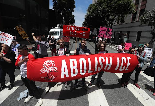 "<span class=""s1"">Protesters block a street outside the San Francisco office of Immigration and Customs Enforcement on June 19. (Photo by Justin Sullivan/Getty Images)</span>"