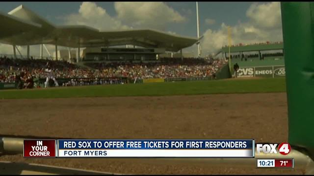 FORT MYERS, Fla. --- The Boston Red Sox baseball team will offer complimentary tickets to the opening single admission doubleheader game for its Spring Training season to first responders. All first responders in Southwest Florida including police, sheriff, emergency medical service, fire personnel and active military will receive two free tickets with proper ID. FORT MYERS, Fla. --- The Boston Red Sox baseball team will offer complimentary tickets to the opening single admission doubleheader game for its Spring Training season to first responders. All first responders in Southwest Florida including police, sheriff, emergency medical service, fire personnel and active military will receive two free tickets with proper ID.