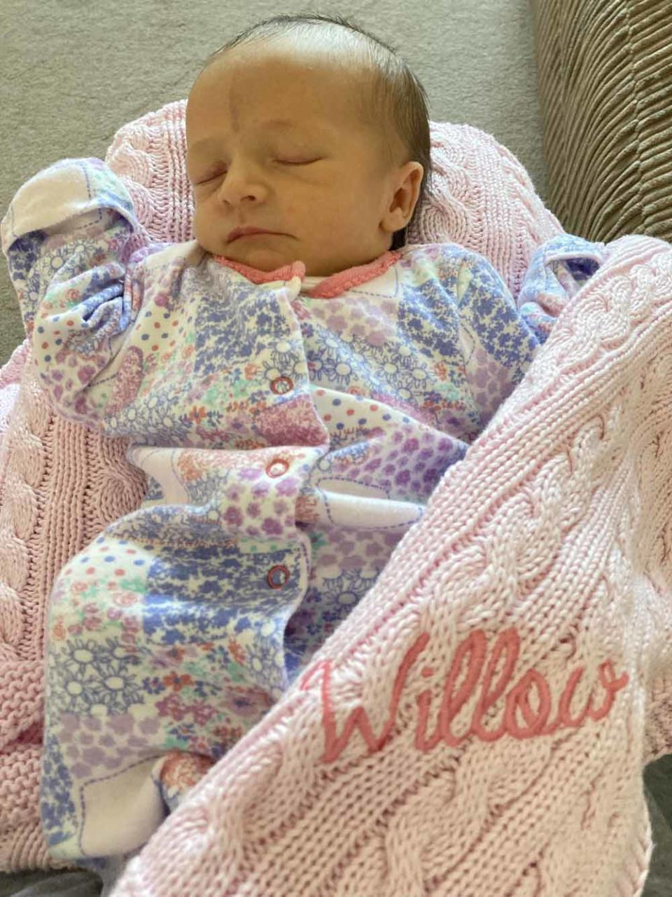 Baby Willow Grace on a hospital blanket. PA REAL LIFE