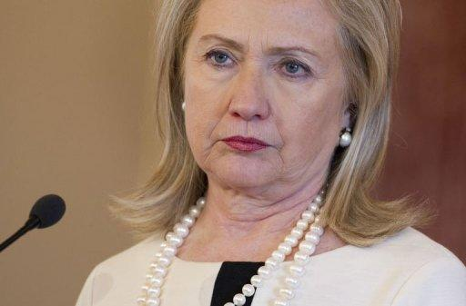 US Secretary of State Hillary Clinton speaks during a press conference at the State Department in Washington, DC. The Group of Eight powers on Thursday demanded that North Korea drop plans for a rocket launch as the United States warned that defiance would lead to action at the UN Security Council