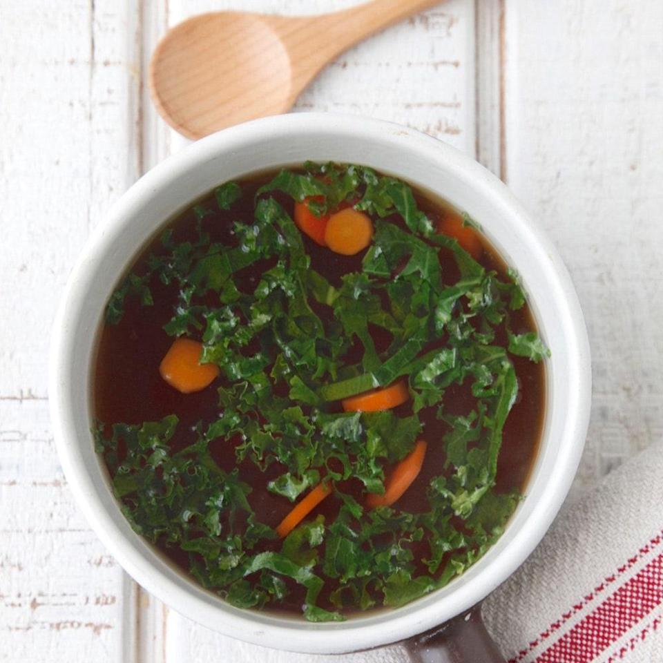 """Making bone broth (or stock) may sound daunting, but it's really not a challenge if you have a slow cooker. Pop the ingredients into the pot, step away, and enjoy savory, soothing broth for days. <a href=""""https://www.epicurious.com/recipes/food/views/slow-cooker-bone-broth-56389474?mbid=synd_yahoo_rss"""" rel=""""nofollow noopener"""" target=""""_blank"""" data-ylk=""""slk:See recipe."""" class=""""link rapid-noclick-resp"""">See recipe.</a>"""