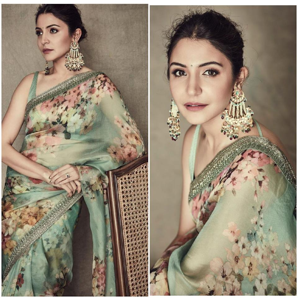 In this picture from July 2019, the <em>Sultan </em>actress is seen draped in a floral ecstasy. The look is complete with a messy mid-partitioned bun, flawless make-up and a traditional shoulder-duster, which, seemingly is the only piece of jewelry accessorizing this look.