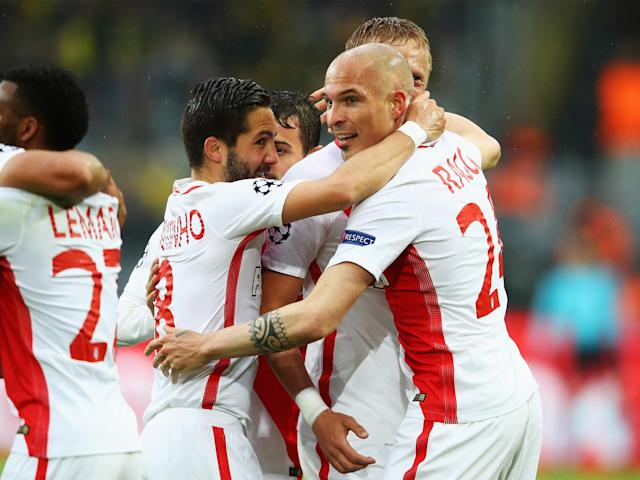 Monaco came out on top over Dortmund in an emotional affair, rescheduled following Tuesday's attack: Getty