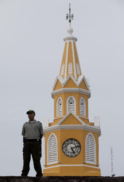 A police officer stands guard in Cartagena, Colombia, Thursday, April 12, 2012. Leaders of the western hemisphere will attend the 6th Summit of the Americas in Cartagena on April 14 and April 15. (AP Photo/Fernando Vergara)