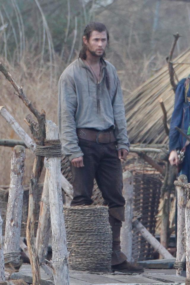 "<a href=""http://movies.yahoo.com/movie/contributor/1809982254"">Chris Hemsworth</a> is seen on the set of his new film ""Snow White and the Huntsman"" in Surrey."