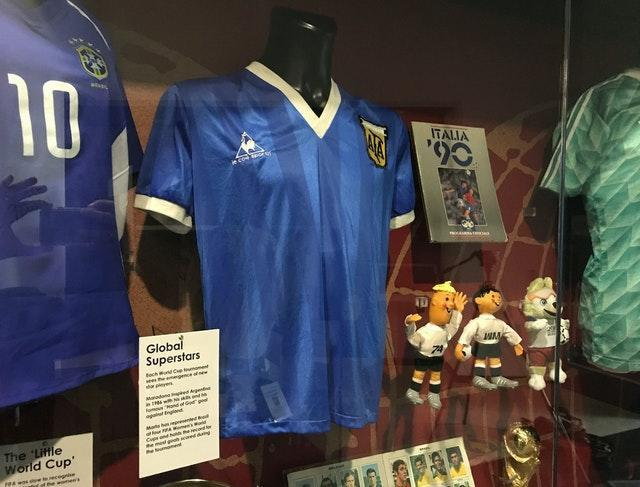 The shirt Diego Maradona wore when he played England in 1986 is now on display at the National Football Museum in Manchester