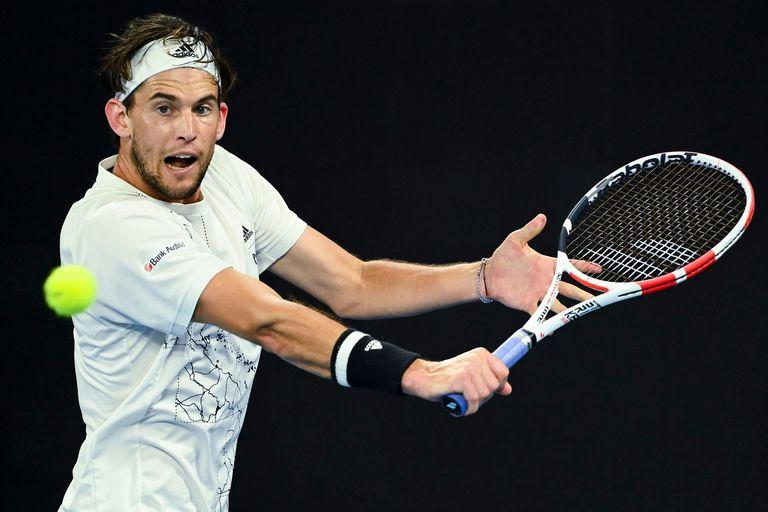 Dominic Thiem of Austria in action during his third Round Mens singles match against Nick Kyrgios of Australia on Day 5 of the Australian Open at Melbourne Park in Melbourne