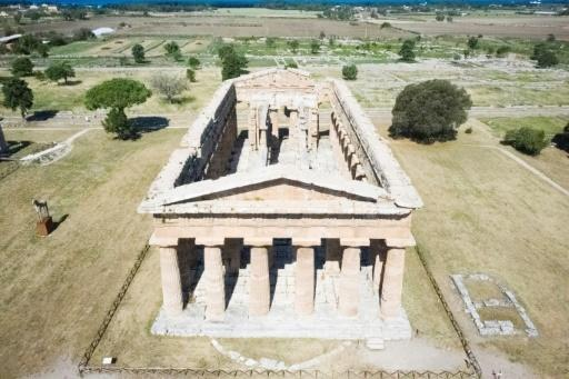 This aerial view shows The Second Temple of Hera also known as Temple of Neptune at Paestum near Naples, site of an ancient Greek colony dating back to the 6th century BC