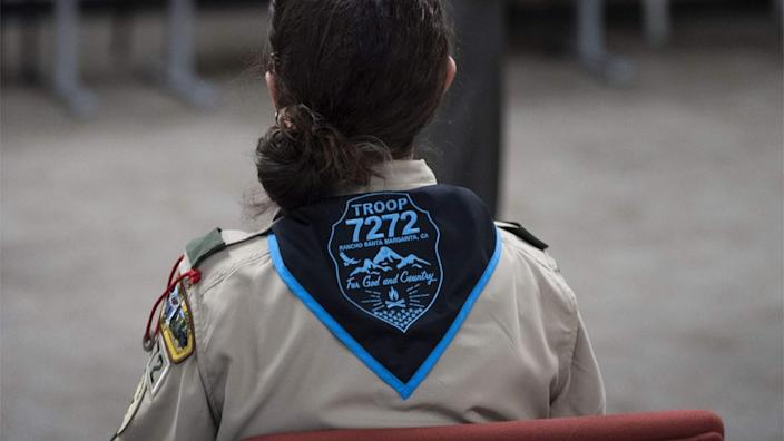A ceremony to submit an application for the county's first all-girl Boy Scout Troop at Boy Scouts of America's Orange County headquarters in Costa Mesa, 10 January 2019