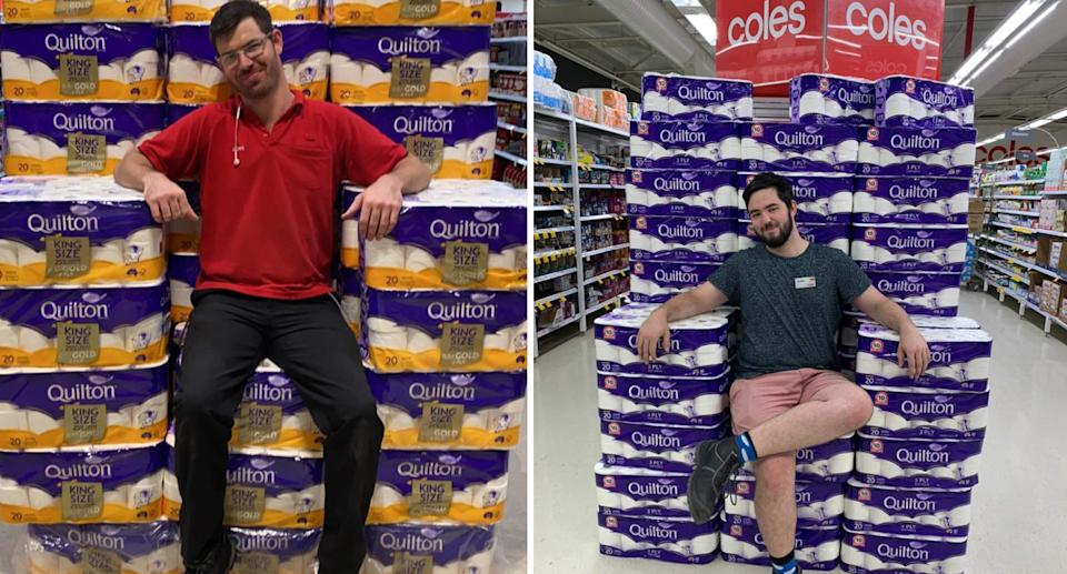 Two separate photos of men sitting on toilet paper rolls shaped into a throne.