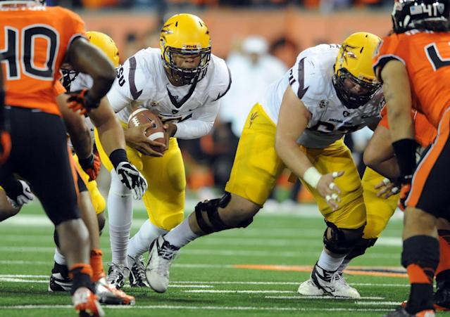 CORVALLIS, OR - NOVEMBER 03: Quarterback Michael Eubank #18 of the Arizona State Sun Devils sneaks for a first down on fourth down in the second quarter of the game against the Oregon State Beavers on November 3, 2012 at Reser Stadium in Corvallis, Oregon. (Photo by Steve Dykes/Getty Images)