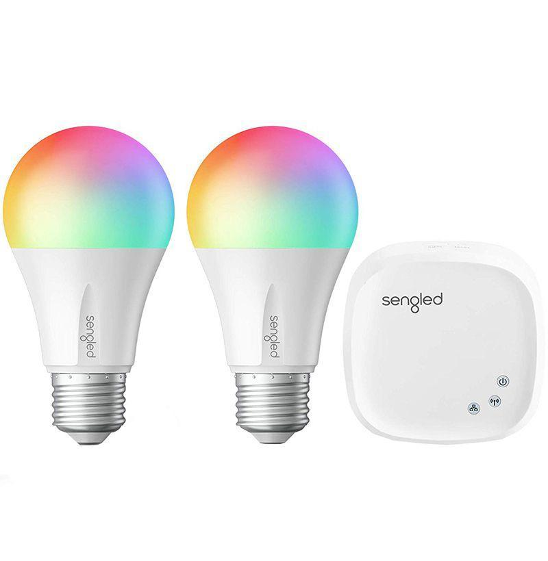 """<p><strong>Sengled</strong></p><p>amazon.com</p><p><strong>$59.99</strong></p><p><a href=""""http://www.amazon.com/dp/B079ZLHQM9/?tag=syn-yahoo-20&ascsubtag=%5Bartid%7C10054.g.19621074%5Bsrc%7Cyahoo-us"""" rel=""""nofollow noopener"""" target=""""_blank"""" data-ylk=""""slk:Buy"""" class=""""link rapid-noclick-resp"""">Buy</a></p><p>Here's a nifty gadget for him to program, with light settings from candlelight to sunset, over 16 million colors, and connectivity to Google and Alexa.</p>"""